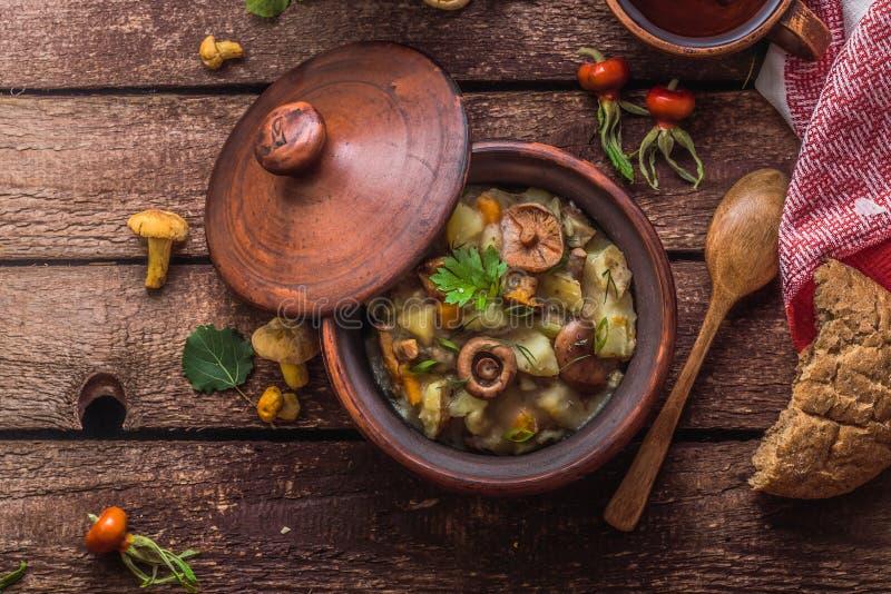 Den Vegeterian potatisen och champinjoner låter småkoka i en lerakruka, kopieringsutrymme royaltyfri foto