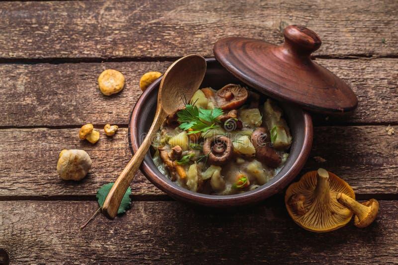 Den Vegeterian potatisen och champinjoner låter småkoka i en lerakruka, kopieringsutrymme royaltyfri bild