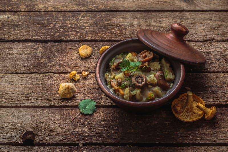 Den Vegeterian potatisen och champinjoner låter småkoka i en lerakruka, kopieringsutrymme royaltyfria foton