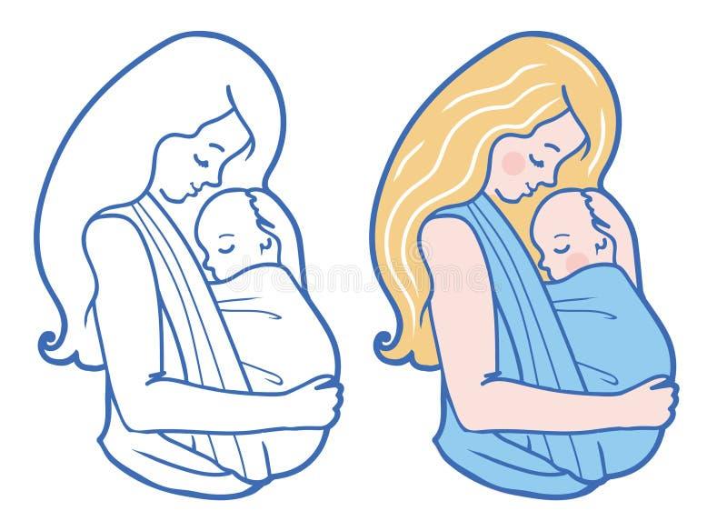 Den vektorBabywearing illustrationen med att krama för moder behandla som ett barn i en rem vektor illustrationer