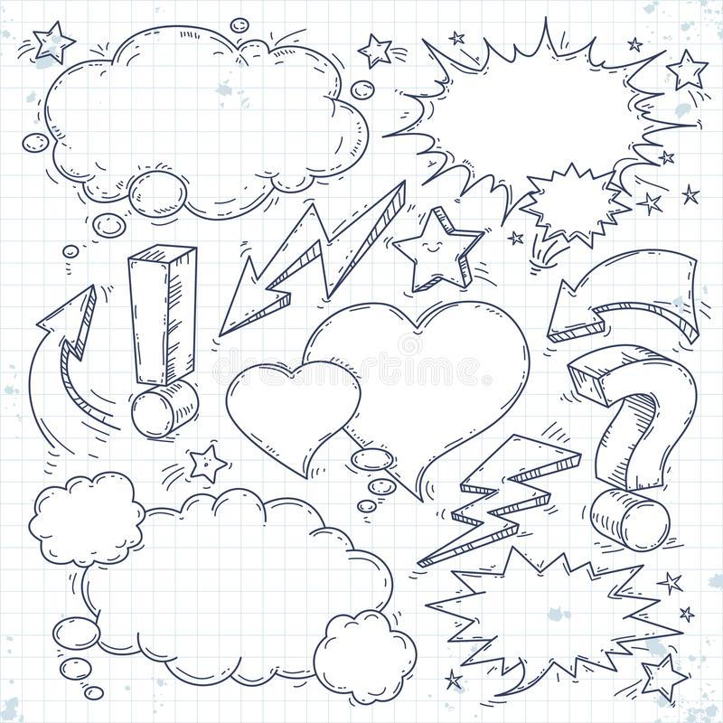 Den vektorsamtalet och funderaren, skissar bubblor, blixt och pilen royaltyfri bild