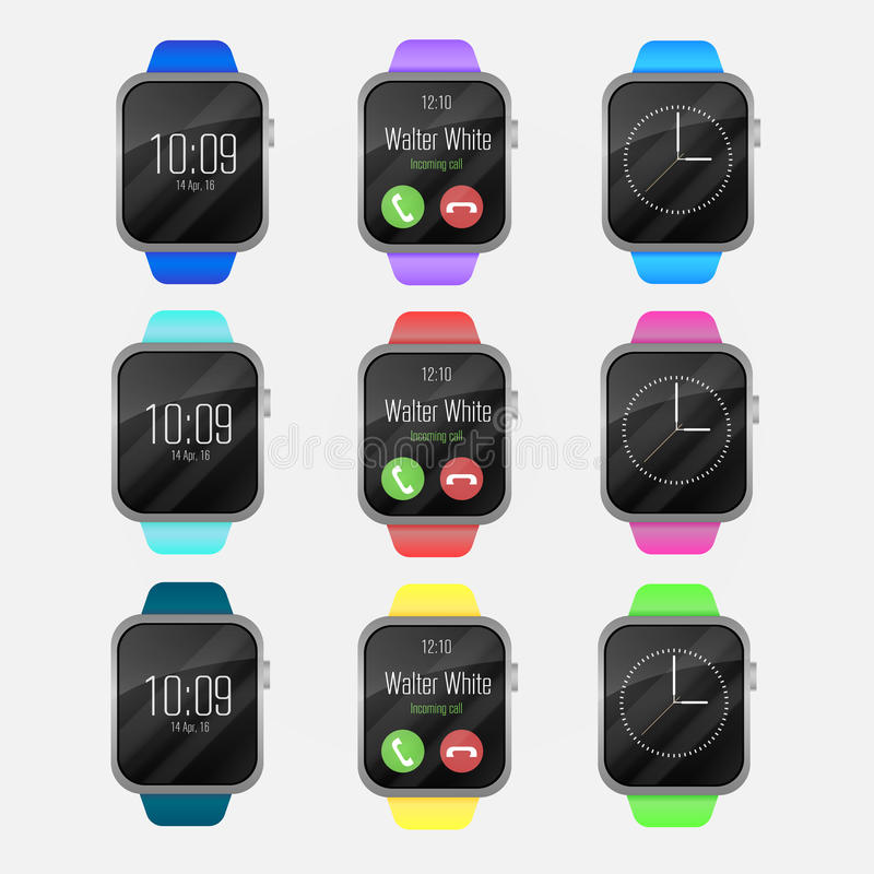 Den vektorSmart klockan som är färgrik av olika färger, sätter band Smart klockasymbol med smartwatchmanöverenheten bakgrund isol royaltyfri illustrationer