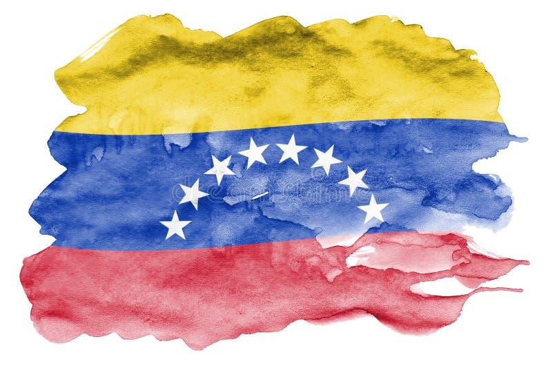 Den Venezuela flaggan visas i vätskevattenfärgstil som isoleras på vit bakgrund vektor illustrationer