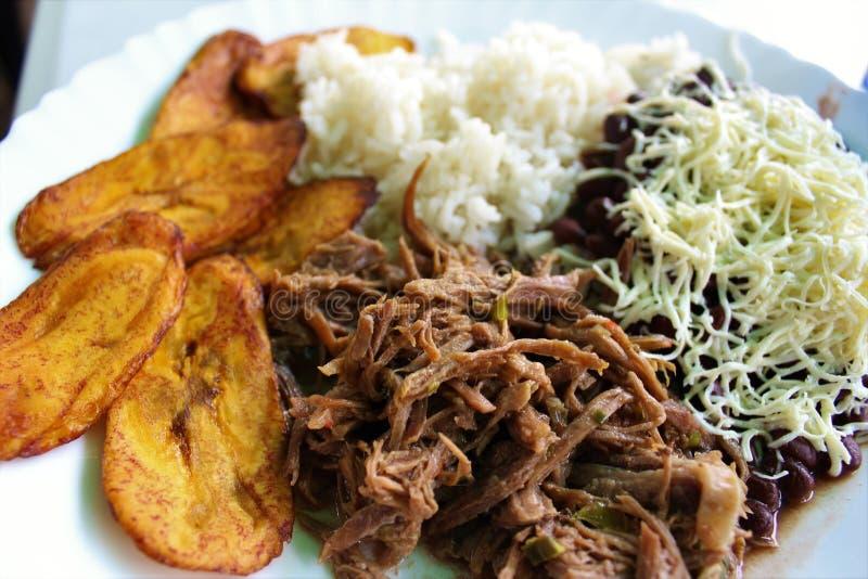 Den venezuelanska typiska maträtten kallade Pabellon som utgjordes av strimlat kött, svarta bönor, ris, stekte pisangskivor och s royaltyfri foto