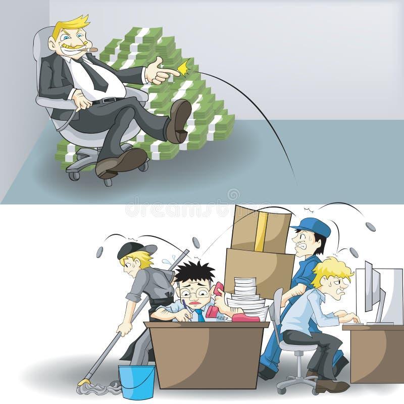 Den verkliga inkomsten och arbetsbördan mellan vd:n och Emplo stock illustrationer