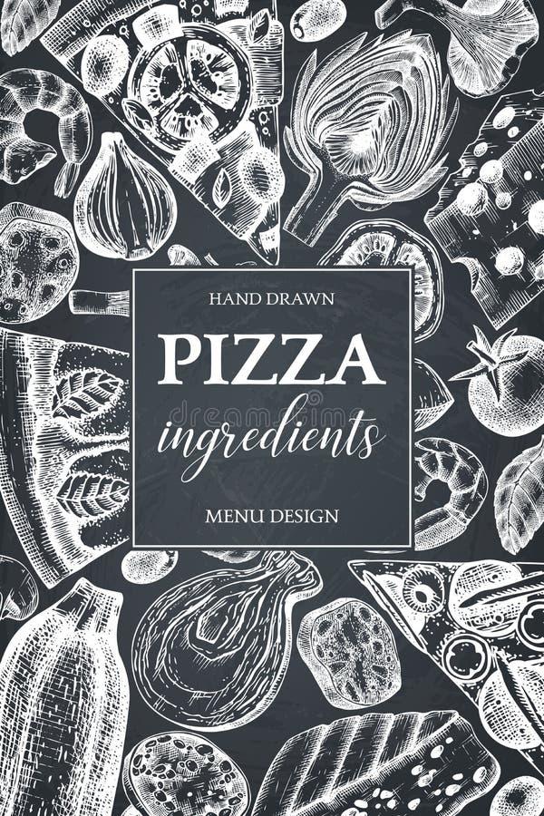 Den vertikala designen med utdragna italienska pizzaingradients för handen skissar Tappningram för pizzeria eller kafémeny Kött s stock illustrationer