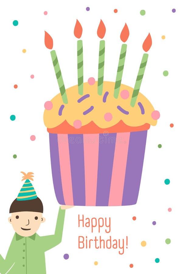 Den vertikala mallen för hälsningkortet med önska för lycklig födelsedag, den hållande jätte- muffin för den gulliga pojken dekor stock illustrationer
