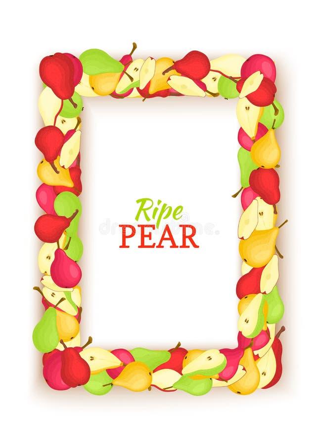 Den vertikala rektangeln färgade ramen som komponerades av läcker päronfrukt Vektorkortillustration Päron inramar för att förpack stock illustrationer