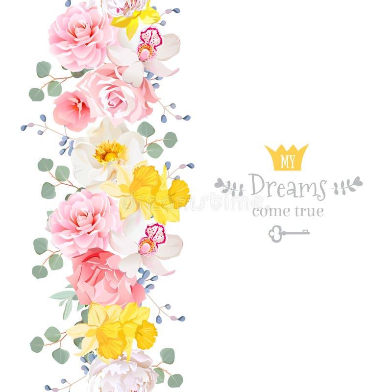 Den vertikala sömlösa linjen girland med kamelian som var lös steg, pionen, orkidén, nejlikan, pingstliljan, eucaliptussidor och  royaltyfri illustrationer