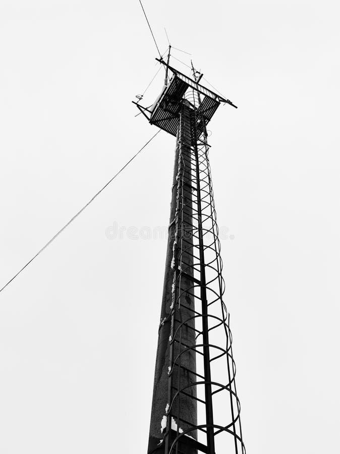 Den vertikala svartvita cyberpunken för vintersikttorn isolerade b royaltyfri fotografi