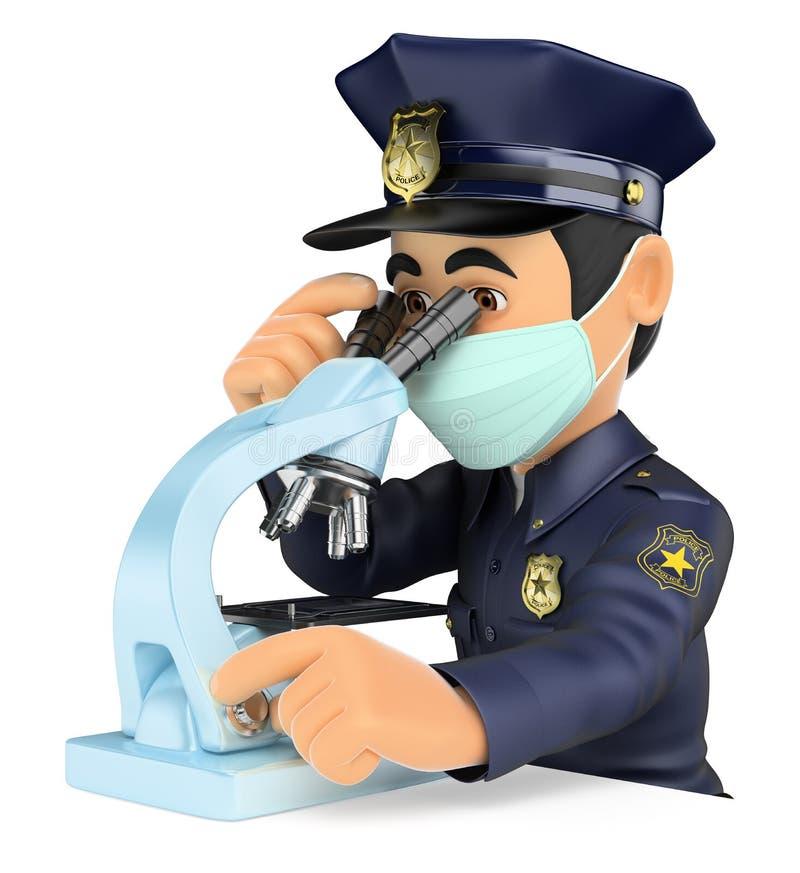 den vetenskapliga polisen som 3D analyserar rättsmedicinskt tecken vektor illustrationer