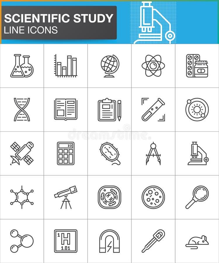 Den vetenskapliga studielinjen symboler ställde in, samlingen för översiktsvektorsymbolet, linjär stilpictogrampacke Tecken logoi royaltyfri illustrationer