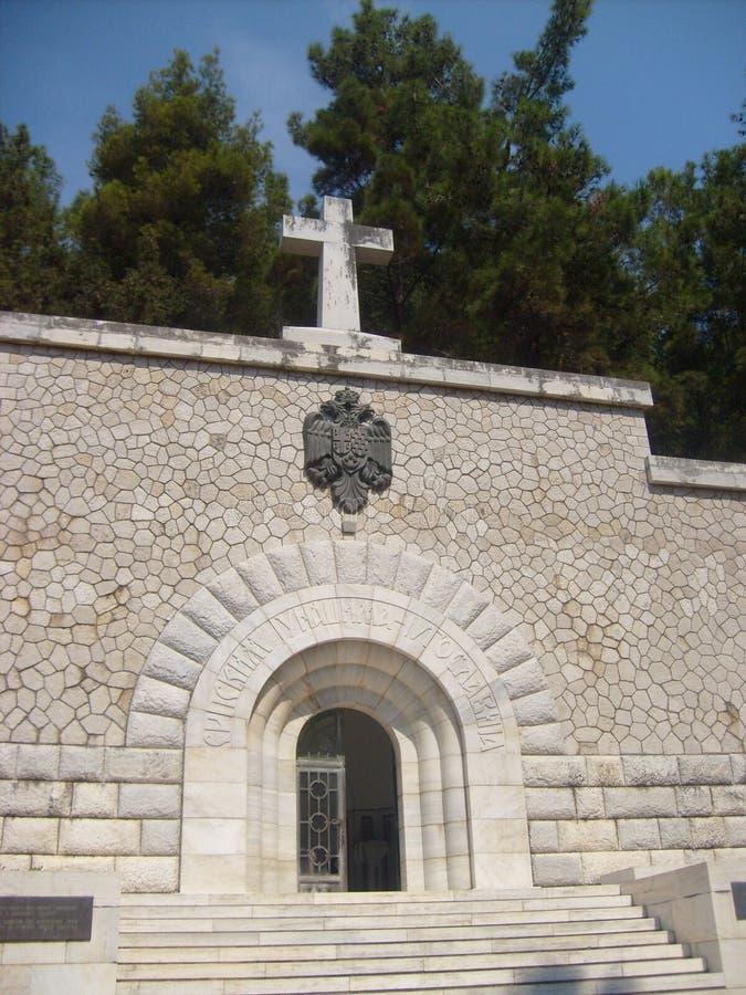 Den Vido ön, Korfu, serbiskt världskrig I tjäna som soldat `-mausoleet arkivbilder