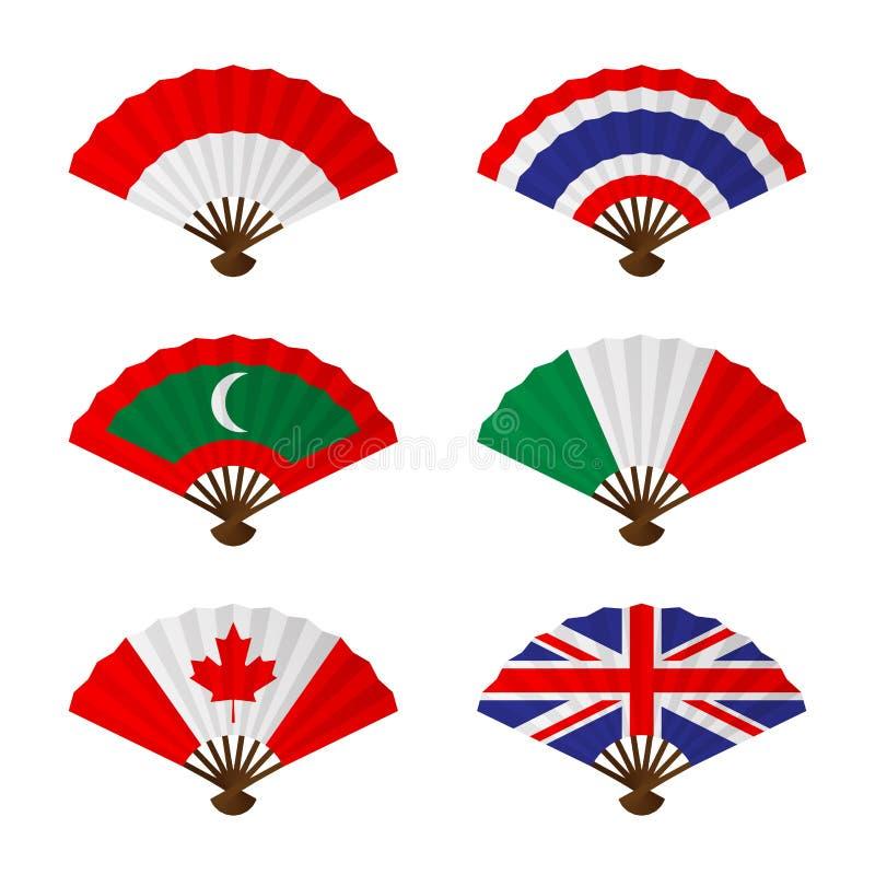Den vikande uppsättningen för designen för fan- eller handfannationsflaggabegreppet Indonesien, Thailand, Maldiverna, Italien, Ka stock illustrationer