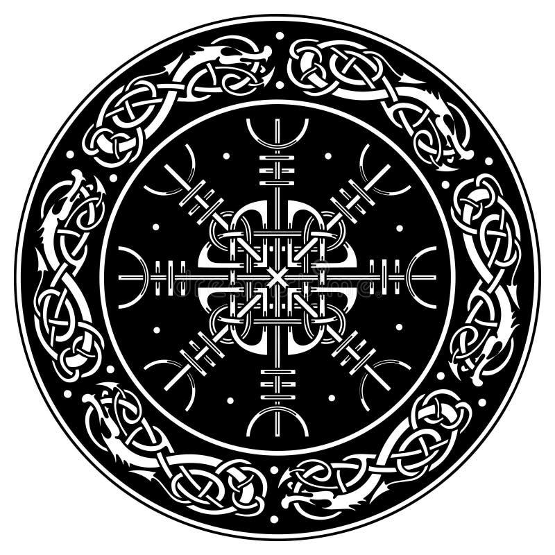 Den Viking skölden dekorerade med en skandinavisk modell av drakar och Aegishjalmur, roder av vördnadrodern av skräckisländska royaltyfri fotografi