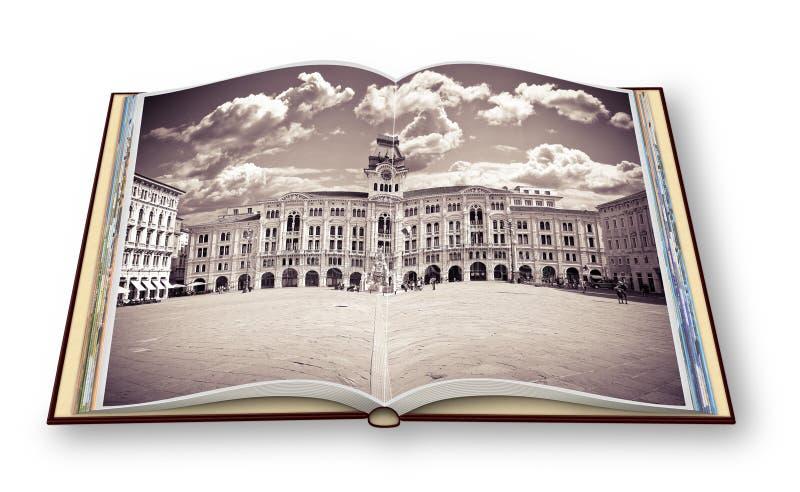 Den viktigaste fyrkanten i Trieste den stad kallade 'piazza Unità D-'Italia 'det hjälpmedels fyrkant av enheten av Italien '- It arkivbild