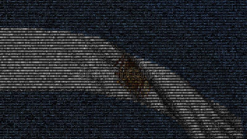 Den vinkande flaggan av Argentina gjorde av textsymboler på en datorskärm begreppsmässigt framförande 3d vektor illustrationer