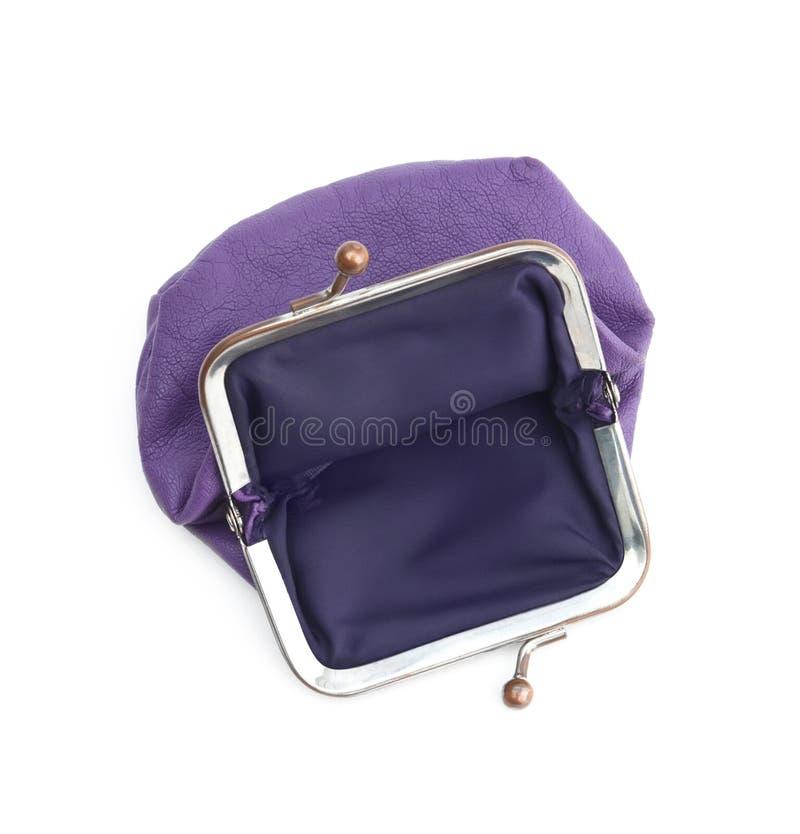 Den violetta handväskan är brist av pengar royaltyfri foto