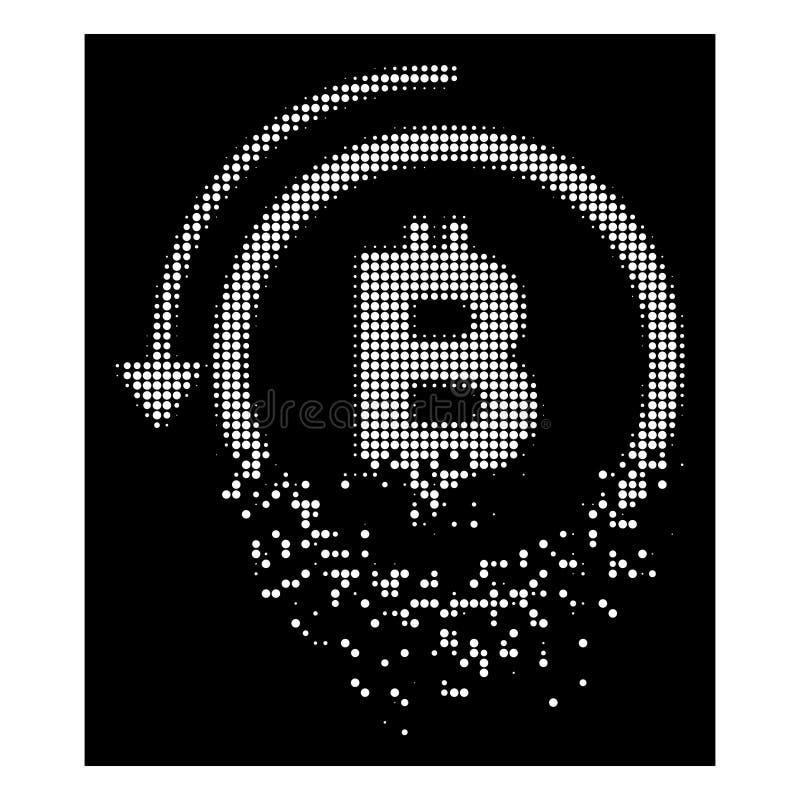 Den vit bröt PIXELhalvton ångrar den Bitcoin betalningsymbolen royaltyfri illustrationer
