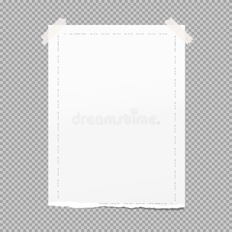 Den vit rev sönder anmärkningen, förskriftsboken, anteckningsbokpapper med den streckade linjen ramen som klibbades på grå färger royaltyfri illustrationer
