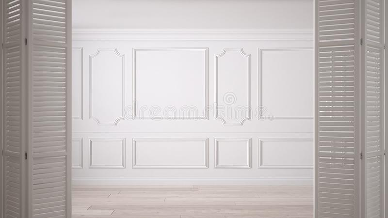 Den vita öppningen för den hopfällbara dörren på klassiskt tömmer utrymme med stuckaturstöpningar och parkettgolvet, tappninginre fotografering för bildbyråer