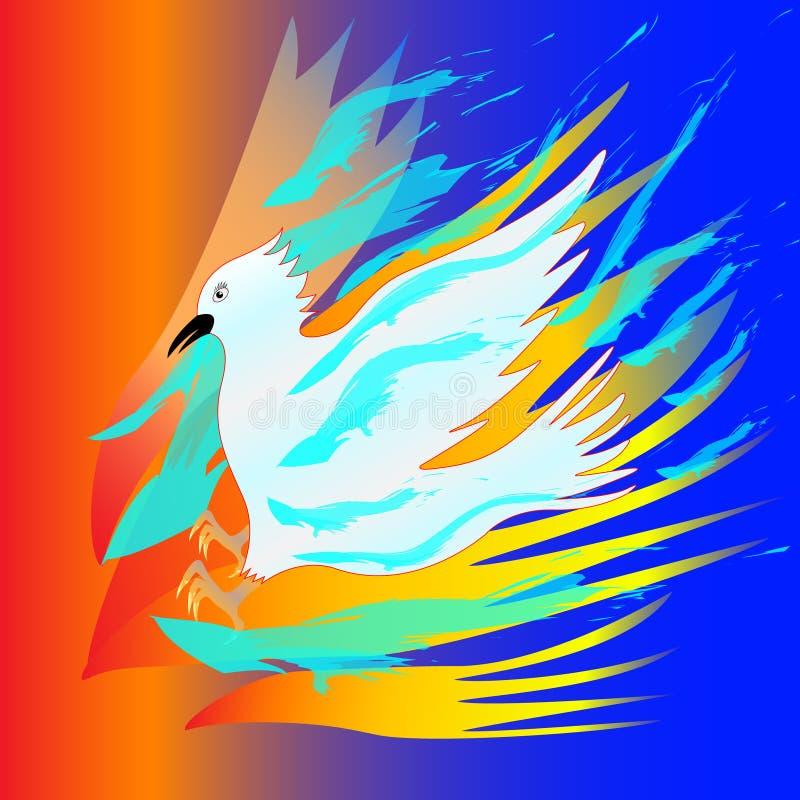 Den vita fågeln sätter ut branden med vatten abstraktion stock illustrationer