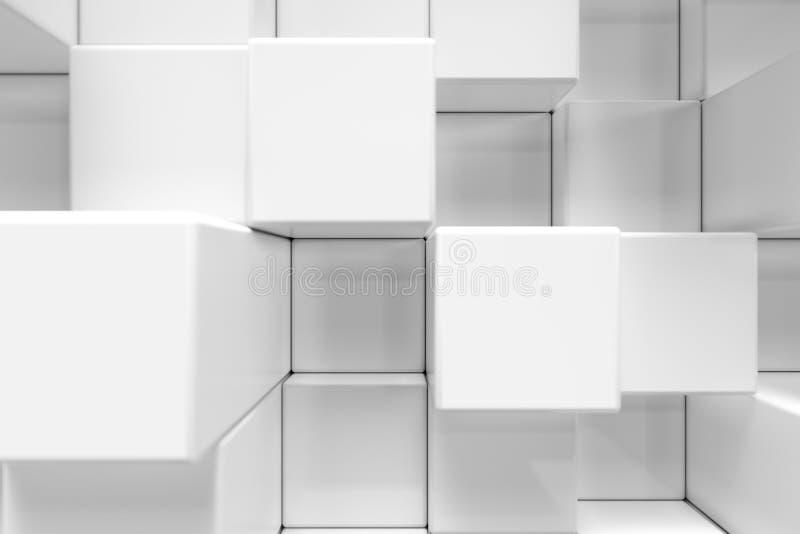 Den vita geometriska kuben som är kubik, askar, fyrkanter bildar abstrakt bakgrund abstrakt begrepp blockerar white Mallbakgrund  stock illustrationer