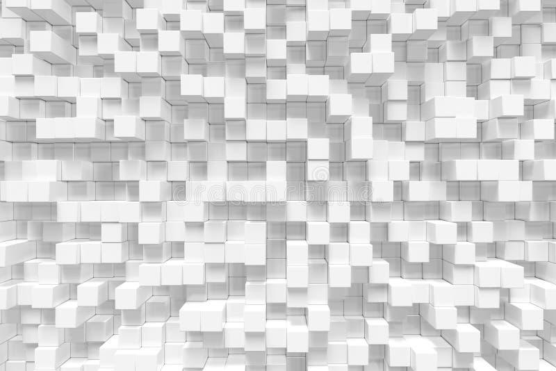 Den vita geometriska kuben som är kubik, askar, fyrkanter bildar abstrakt bakgrund abstrakt begrepp blockerar white Mallbakgrund  royaltyfri illustrationer