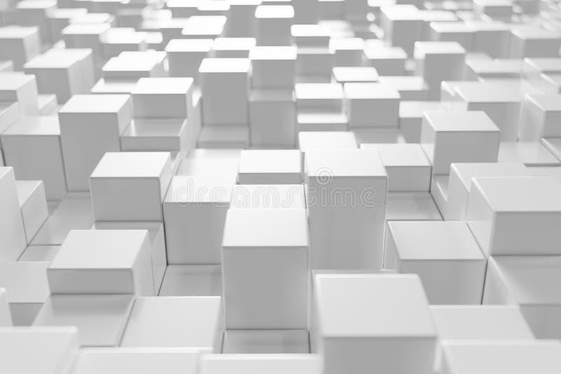 Den vita geometriska kuben som är kubik, askar, fyrkanter bildar abstrakt bakgrund abstrakt begrepp blockerar white Mallbakgrund  vektor illustrationer
