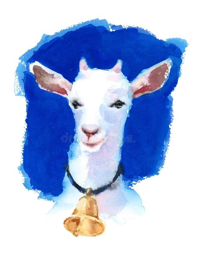 Den vita geten som bär en Klocka vattenfärghand, målade illustrationen för lantgårddjur på ljus blå bakgrund stock illustrationer
