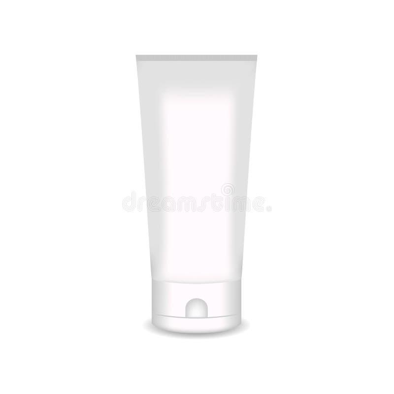 Den vita glansiga plast- flaskan för schampo, dusch stelnar, lotion, kropp mjölkar, badar skum Realistisk förpackande modellmall stock illustrationer