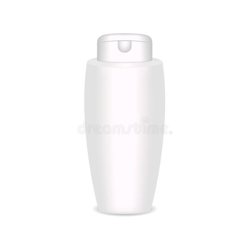 Den vita glansiga plast- flaskan för schampo, dusch stelnar, lotion, kropp mjölkar, badar skum Realistisk förpackande modellmall vektor illustrationer