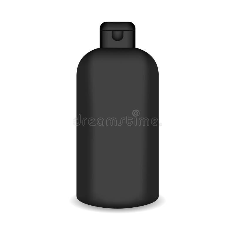 Den vita glansiga plast- flaskan för schampo, dusch stelnar, lotion, kropp mjölkar, badar skum Realistisk förpackande modellmall royaltyfri illustrationer