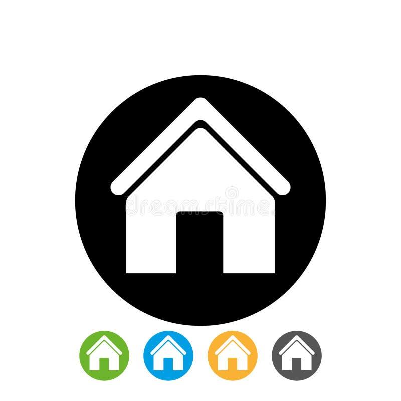 Den vita hem- symbolen i den svarta cirkeln för placerar vi design på vit bakgrund hem- symbol i cirkelvektorn eps10 stock illustrationer