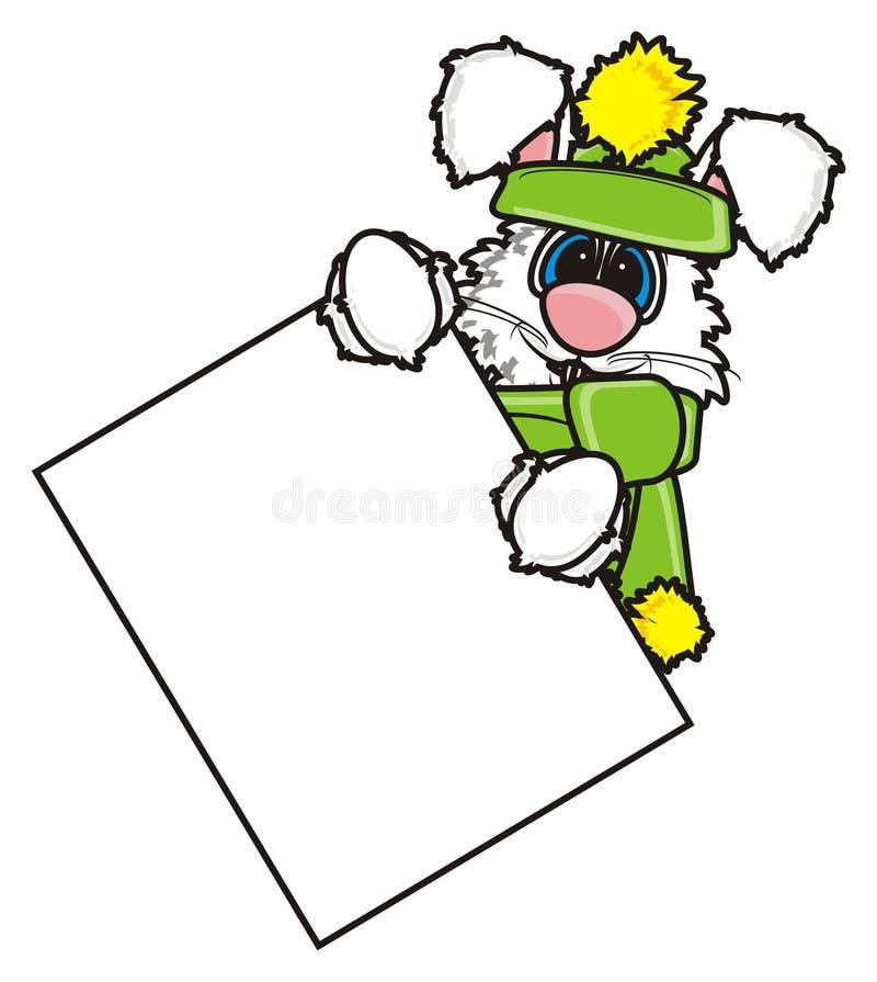 Den vita kaninen i vinter beklär att rymma ett tomt tecken royaltyfri illustrationer