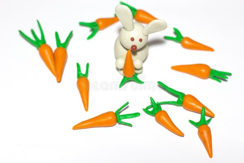Den vita kaninen rymmer en morot i dess tafsar Några morötter ligger runt om kaninen royaltyfri foto