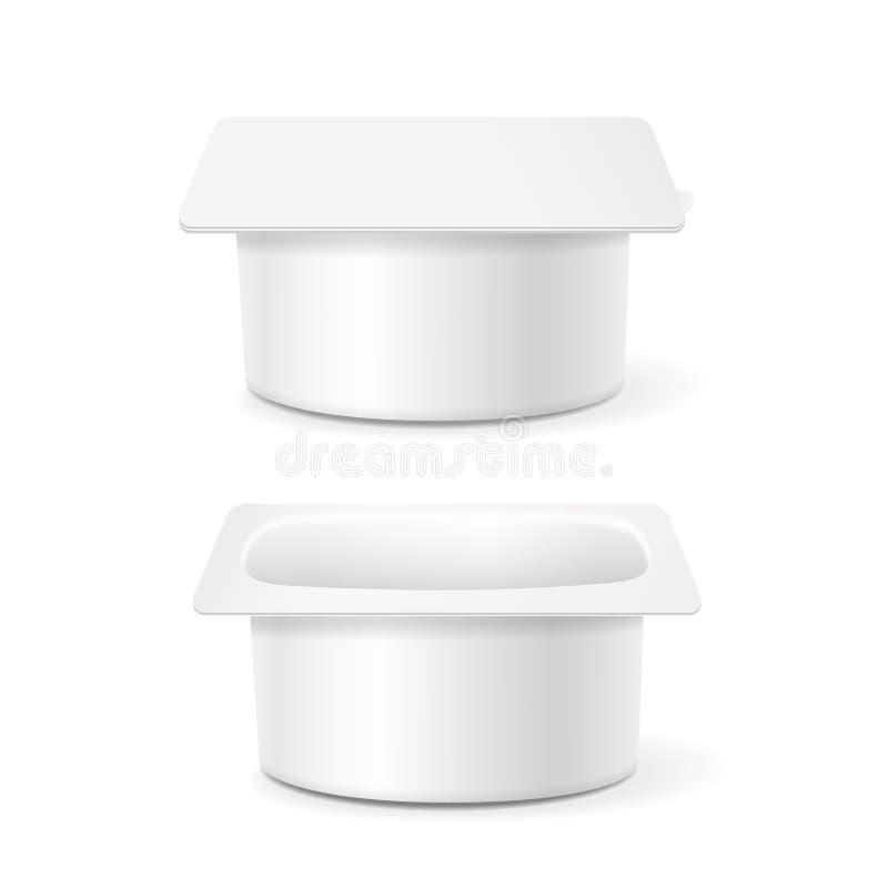 Den vita koppen badar den plast- behållaren för mat för efterrätten, yoghurten, glass, illustration på vit bakgrund royaltyfri illustrationer