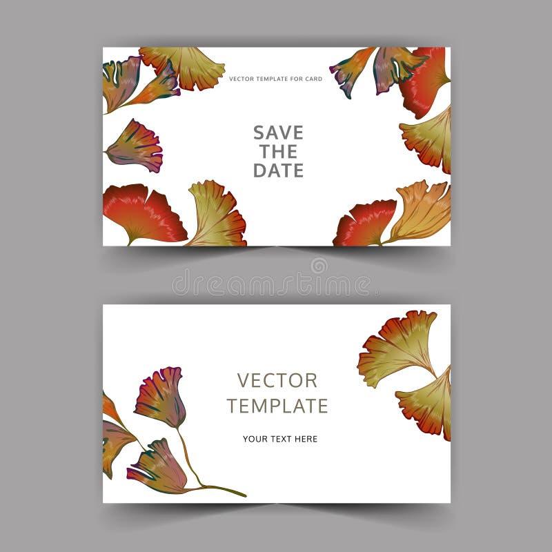 Den vita kortginkgoen lämnar vektorn Gifta sig den blom- dekorativa gränsen för bakgrundskort stock illustrationer