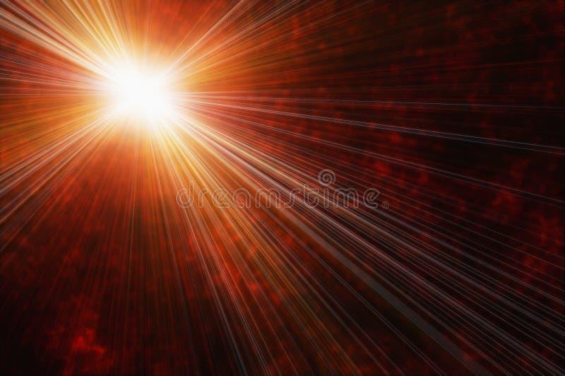 Den vita ljusa stjärnan på en brand fördunklar bakgrund