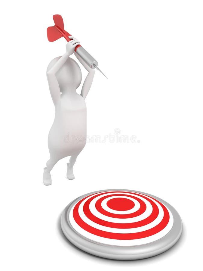 Den vita mannen 3d svänger tagande siktar att uppsätta som mål med pilen stock illustrationer