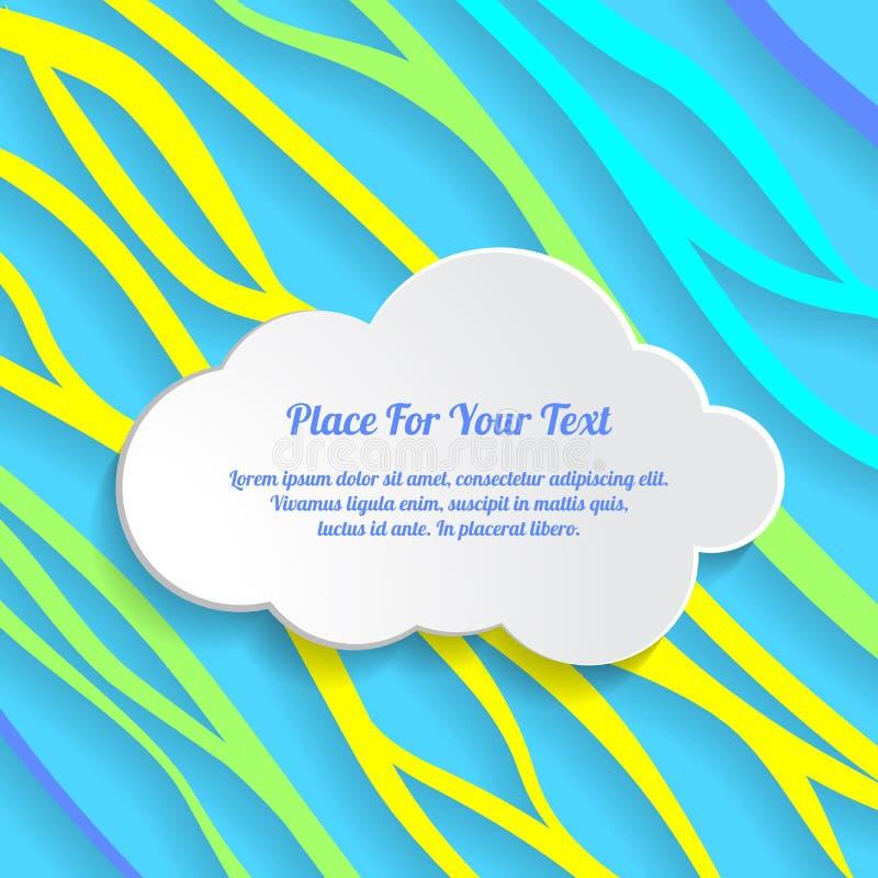 Den vita molntextasken på färgrikt abstrakt begrepp fodrar bakgrund wavy vektor illustrationer
