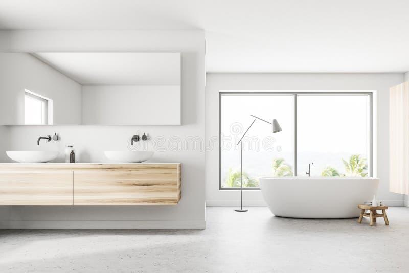 Den vita panorama- badrumvasken och badar royaltyfri illustrationer