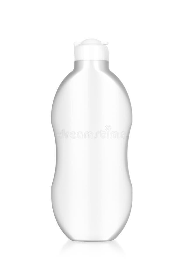 Den vita plast- flaskan av schampo, hårbalsamen, hår sköljer, stelnar, isolerat arkivfoto