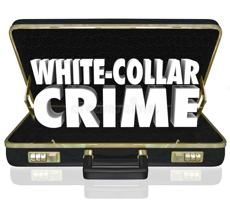 Den vita portföljen för ord för kragebrottet 3d förskingrar bedrägeristöld vektor illustrationer