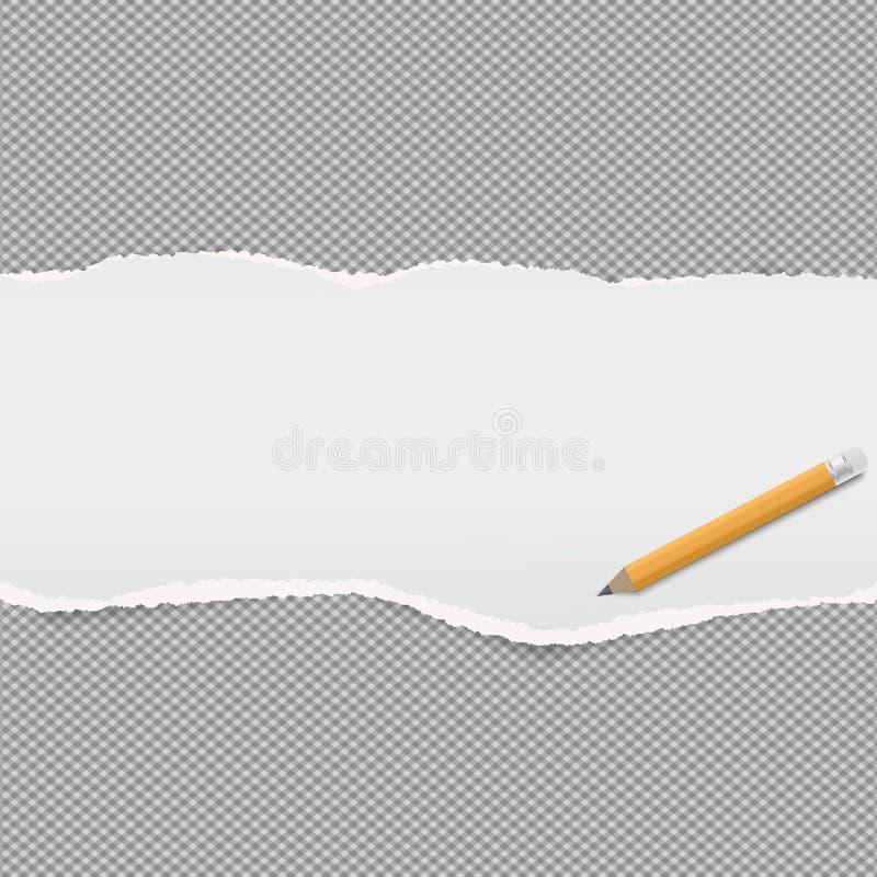Den vita sönderrivna avlånga pappers- remsan förlade en kvadrerad bakgrund, papper för anmärkning också vektor för coreldrawillus stock illustrationer
