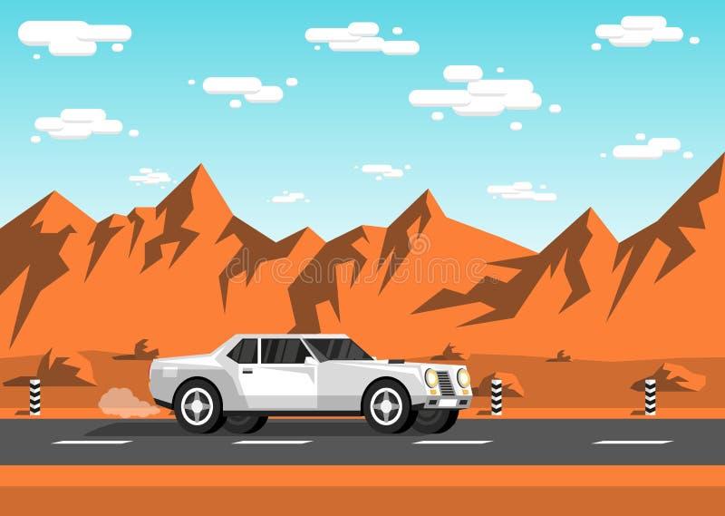 Den vita sedanbilen rider längs en tom huvudväg royaltyfri illustrationer