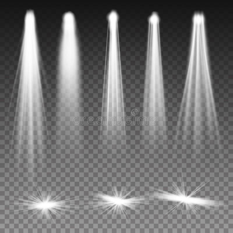 Den vita strålen tänder strålkastarevektorn Bakgrundsbelysning med strålkastare Genomskinliga effekter på en plädmörkerbakgrund L vektor illustrationer