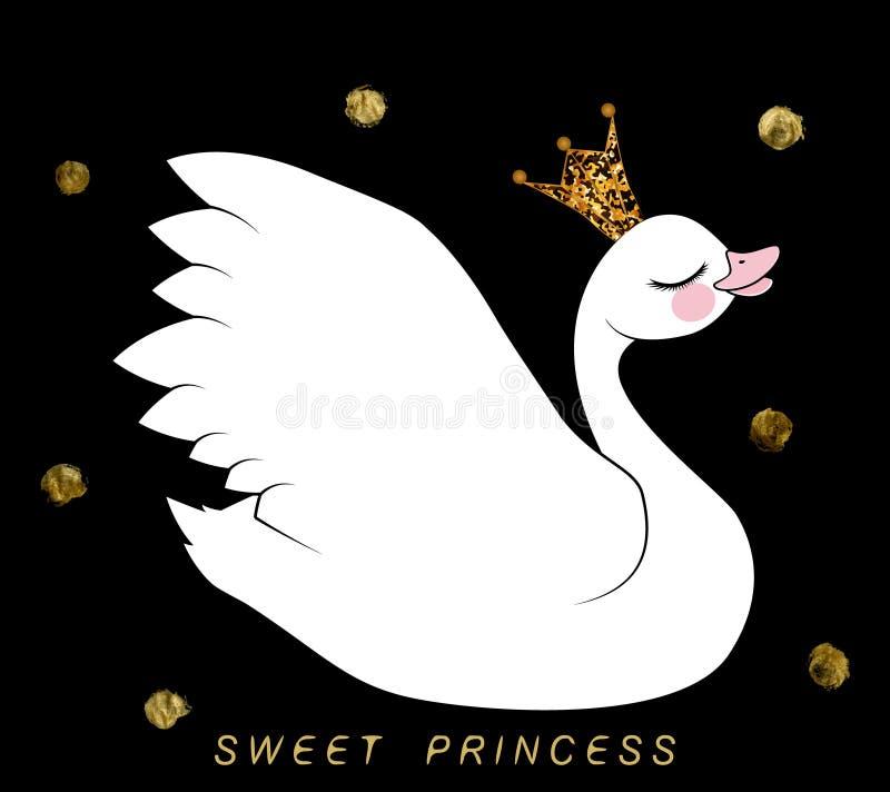 Den vita svanen i guld med mousserar kronan på svart bakgrund med guld- cirklar och den söta prinsessan för inskrift vektor illustrationer