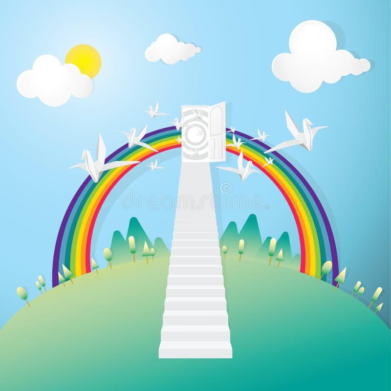 Den vita trappan öppnar upp till dörren av drömmen stock illustrationer