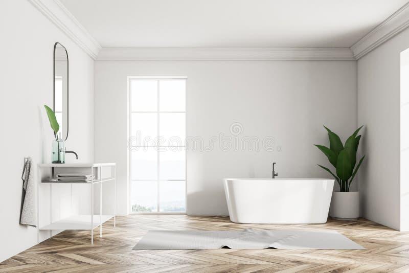 Den vita vindbadruminre, vask och badar royaltyfri illustrationer